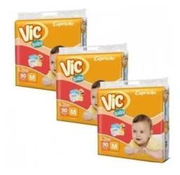 Fralda Infantil Vic Baby Mega - Fardo com 3 Pacotes