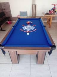Mesa Charme de Redes Cor Imbuia Tecido Azul Logo Corinthians Mod. MQST1155
