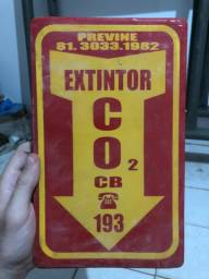 placa extintor CO2 e Agua