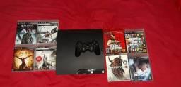 Título do anúncio: PS3 Slim160 GB + 1 Controle + 8 Jogos