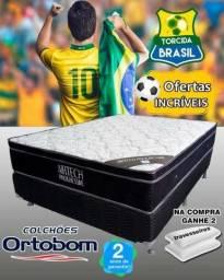 Conjunto Cama Box + Colchão Ortobom Airtech Casal - Preço à Vista em até 10 x no cartão