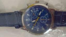 Relógio masculino pulseira em couro