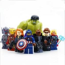 Bonecos Miniatura Vingadores 8 Peças C/ Grande Hulk
