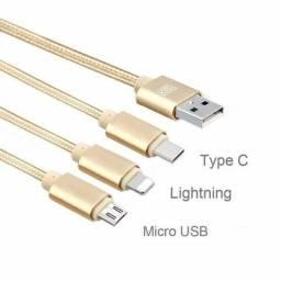 Cabo Carregador 3 Em 1 Micro Usb Tipo C E Lightning 1 Metro