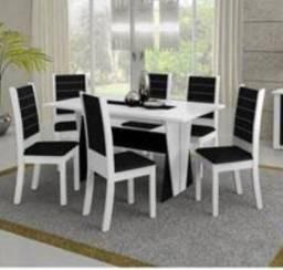 Mesa com 6 caldeiras cor Branco e Preto