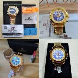 Título do anúncio: Relógio Militar Original Naviforce 9163 Dourado - Digital e Analógico - Com caixa Original