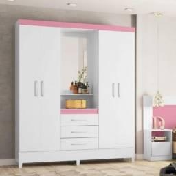(Entrego e Monto)Guarda Roupa Com Espelho Central(Branco/Rosa)899,00