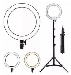 (NOVO) Ring Light Iluminador Portátil 26cm com Tripé Grande E Suporte Celular