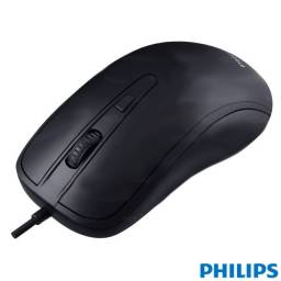 Mouse Óptico Philips Original M214 Usb Preto
