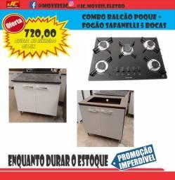 Título do anúncio: Combo Balcão Cooktop Com Fogão Safanelli 5 Bocas Super Promoção