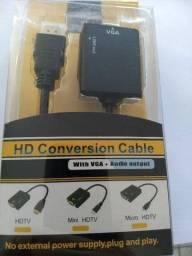 conversor hdmi para vga com audio