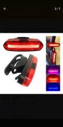 Lanterna Traseiro Sinalizador azul e vermelho, Recarregável Bike
