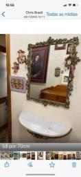 Conjunto aparador e espelho em bronze/ mármore