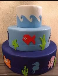 Título do anúncio: Maquete de bolo tema fundo do mar