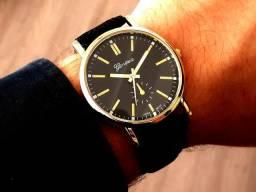 Relógio Geneva Gold Couro Pronta Entrega