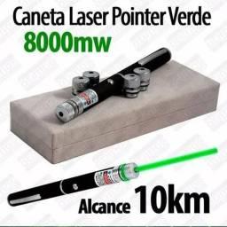 Caneta Laser Pointer Verde Lanterna 8000mw Até 10km 5pontas