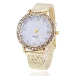 Relógio feminino de luxo Dourado com diamantes