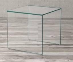 Mesa Lateral Dillen de Vidro Incolor 50cm (comprado na Etna)