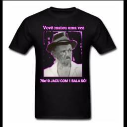 """CAMISA DO TIR!NGA """"VOVÔ MATOU UMA VEZ 70e10 JACU COM UMA BALA SÓ""""!"""