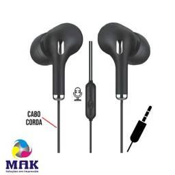 Fone de Ouvido P3 Intra Auricular Extra Bass com Microfone Cabo Trançado Corda Xtrad U28