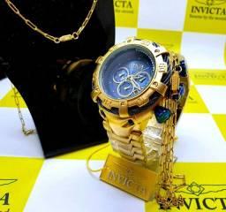 Relógio robusto banhado a ouro 1ano de garantia