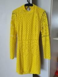 Título do anúncio: Vestido em renda Guipir, cor amarelo