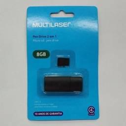 Cartão de memória Class 4 8gb 2x1 leitor usb MC161 Multilaser