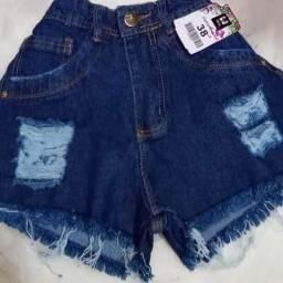 Short Jeans cos alto moda blogueira desfiado