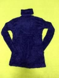 Blusa de frio gola alta/ cacharrel/ gola rolê azul