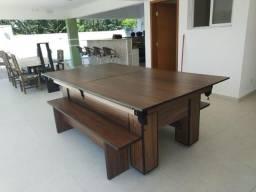 Mesa de Bilhar e Jantar Cor Imbuia Tecido Vermelho Mod. PRAS4312