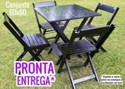 CJ Mesa 60x60 Premium Novo Preta Madeira Maciça Dobrável Cadeiras dobráveis Madesil Madore