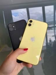 iPhone 11 amarelo, preto 64gb