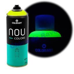 Tinta spray amarelo fluorescente Nou Colors (amarelo luminoso)