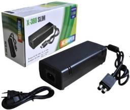 Fonte Xbox 360 Slim 2 Pinos Bivolt 110v 220v 135w + Cabo Forç