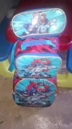 Kit mochila escolar (mochila de rodinha+lancheira + estojo