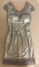 Vestido paetê prata fosco