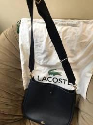 Bolsa Lacoste azul marinho original em couro legítimo