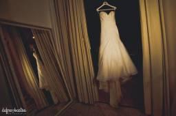 Vestido de noiva sereia drapeado organza Rosa clará