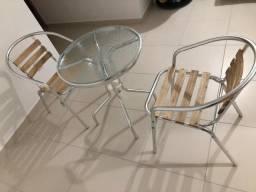 Mesa e 2 cadeiras de alumínio