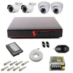 Kit Dvr 4 Câmeras Segurança Residencial Externa e Interna - Kit Dvr 4 Ch P2p Retirar em Bh