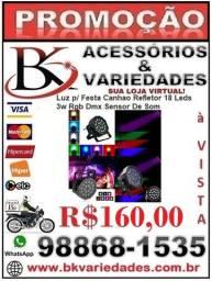 Luz p/ Festa Canhao Refletor 18 Leds 3w Rgb Dmx Sensor De Som- (Loja BK Variedades)