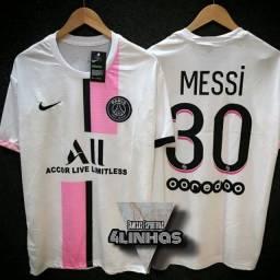 Título do anúncio: Camisa PSG Messi #30 - Paris Saint Germain 21/22 Modelo 2 Branco e Rosa