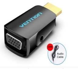 Título do anúncio: Conversor compacto HDMI to VGA com cabo 3.5mm de Audio.