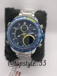 Relógio de pulso masculino original naviforce modelo 9182 digital e analógico