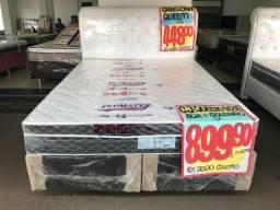 Cama Box + Colchão Exitus Plumatex Queen Size 158x198 A Pronta Entrega