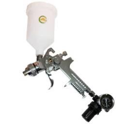 Pistola de Pintura por Gravidade Hvlp c/ Manômetro e 2 Bicos: 1,4 e 1,7mm - Aço inoxidável