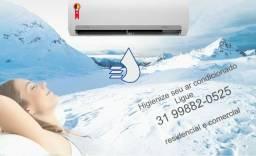 Limpeza química e higienização de ar condicionado split - Manutenção preventiva
