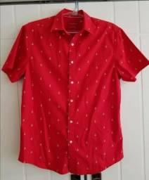 Camisa Blusa Vermelha Estampa Âncora - Importada - Slim Fit   Tam. P 49e38c9f17476