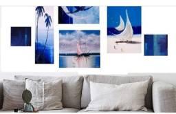Vendo ou troco novo Kit de quadros decorativos pintados a mão tela comum