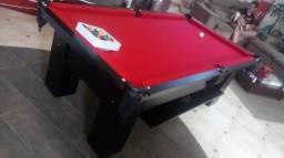 Mesa Charme 2,20 x 1,20   Mesa Preta   Tecido Vermelho   Modelo: RVFQ4162